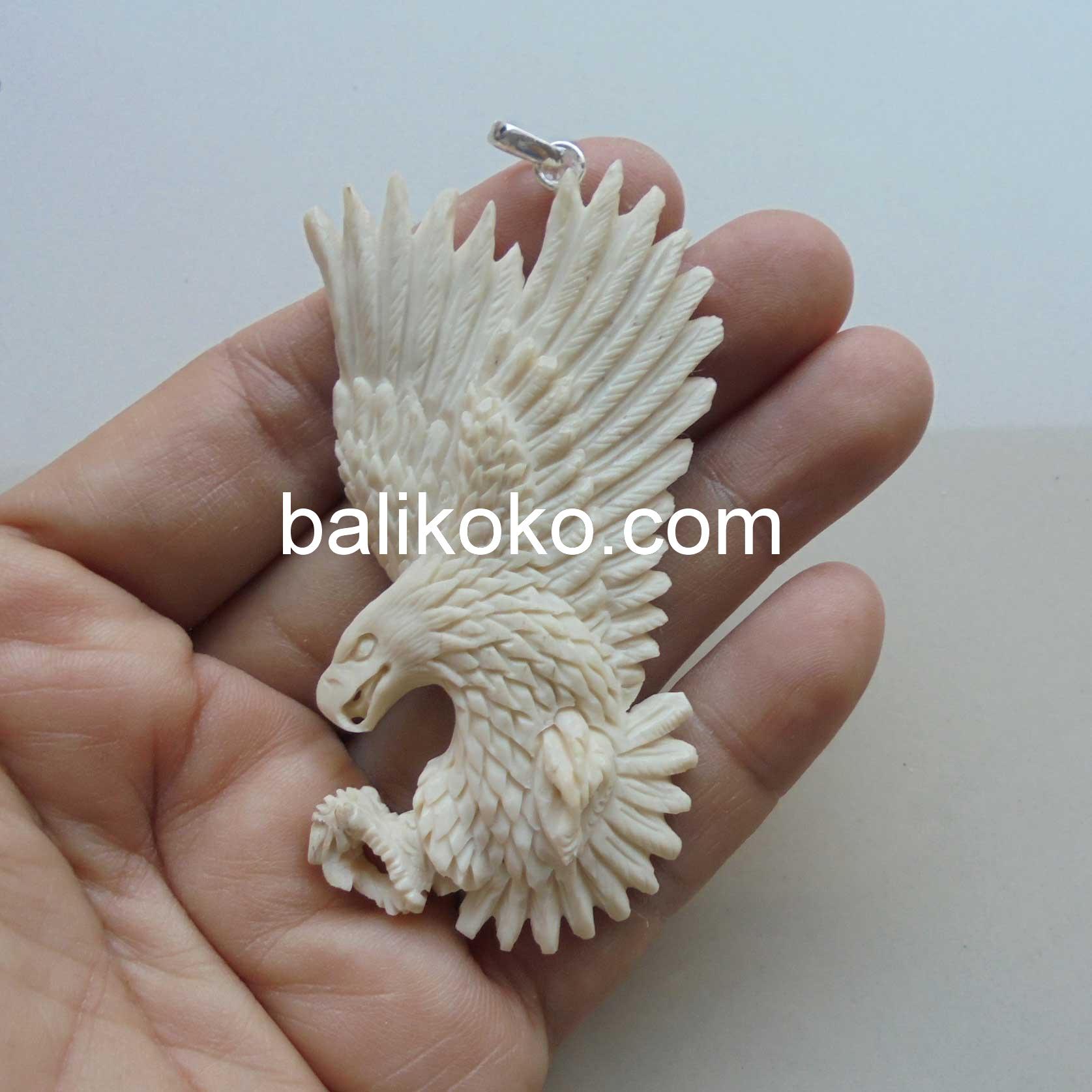 Pd025 Eagle Hand Carved Bone Pendant Bali Koko